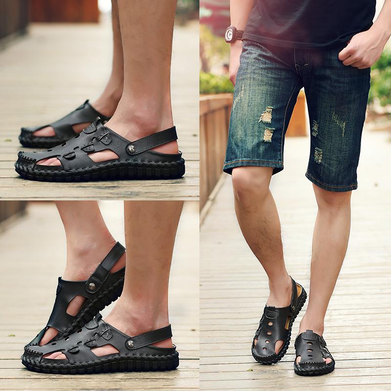 真皮凉鞋夏季懒人男鞋子透气潮镂空洞洞鞋男士休闲凉拖包头沙滩鞋