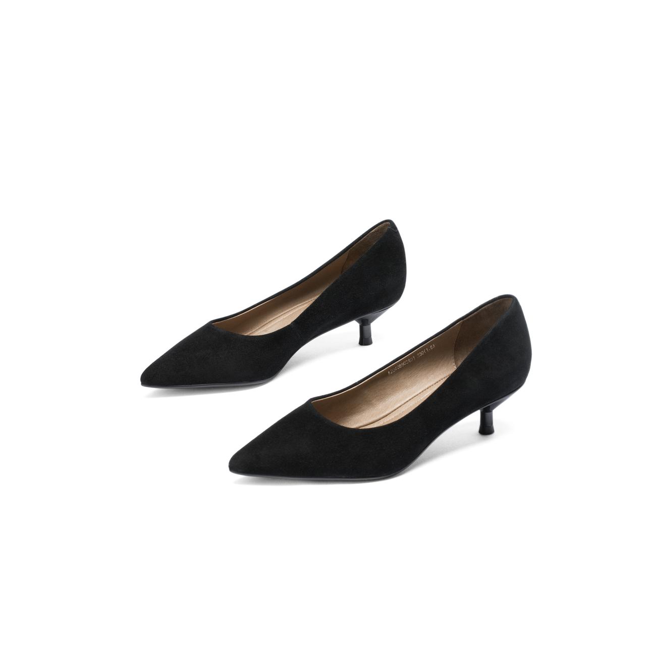 千百度新款猫跟女鞋绒面职业休闲高跟鞋上班浅口尖头单鞋