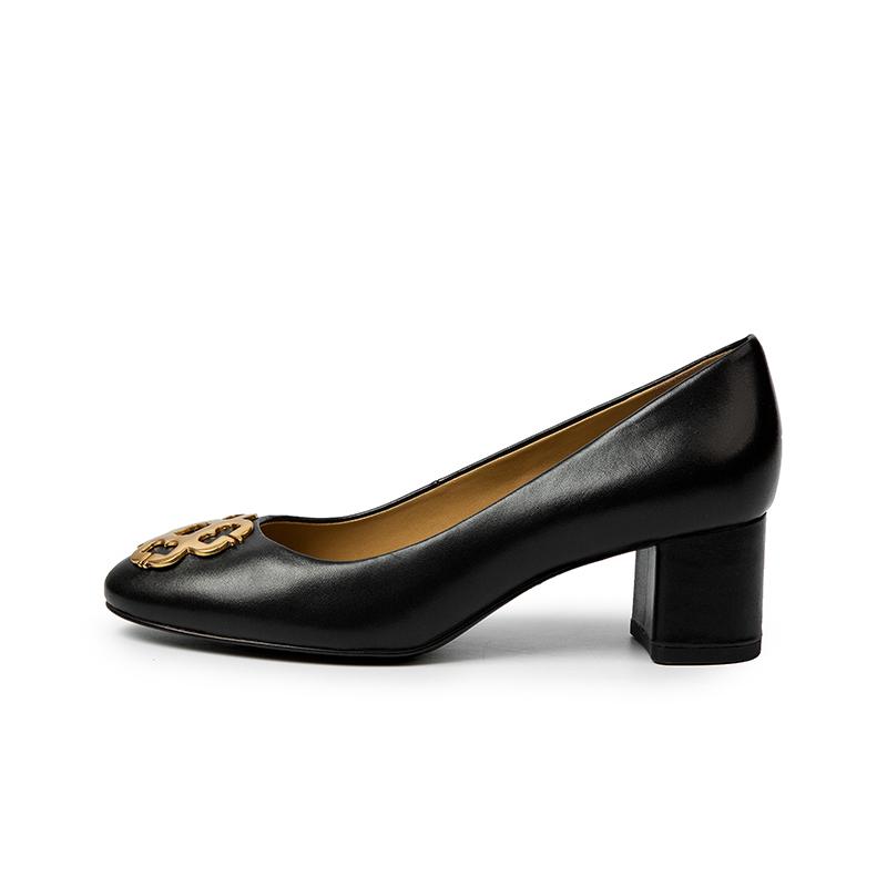 A9121104WX 春新商场同款黑色高跟鞋牛皮坡跟女单鞋 2019 千百度女鞋