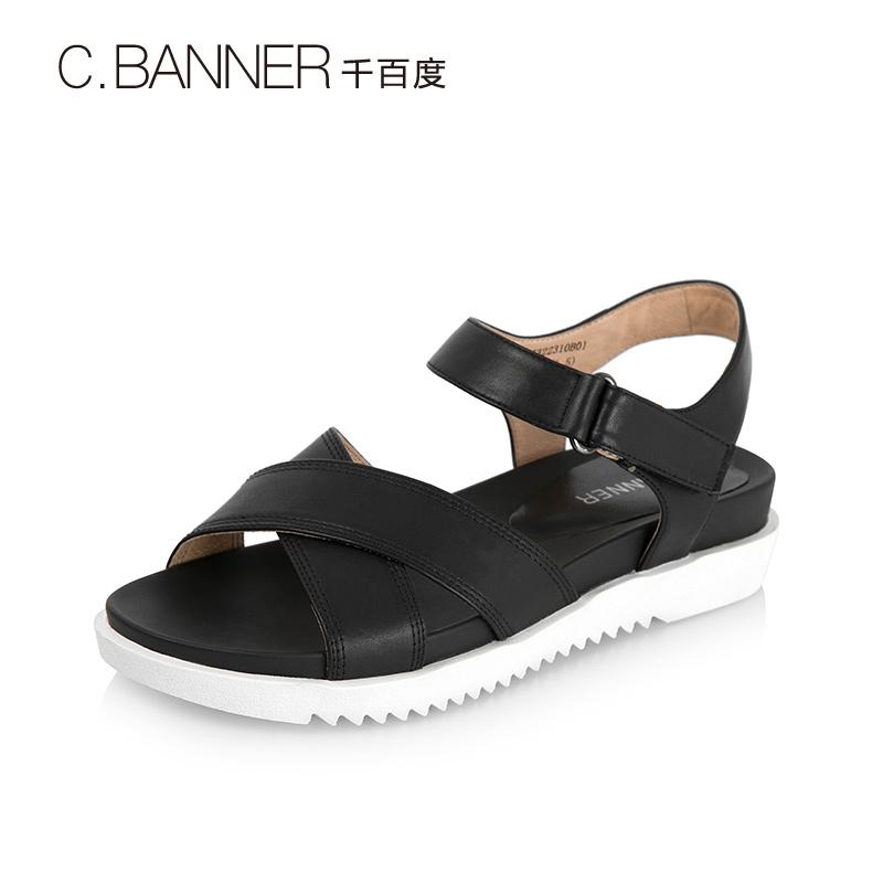 A7322310WXWX 千百度夏季羊皮交叉条带厚底女凉鞋 C.BANNER