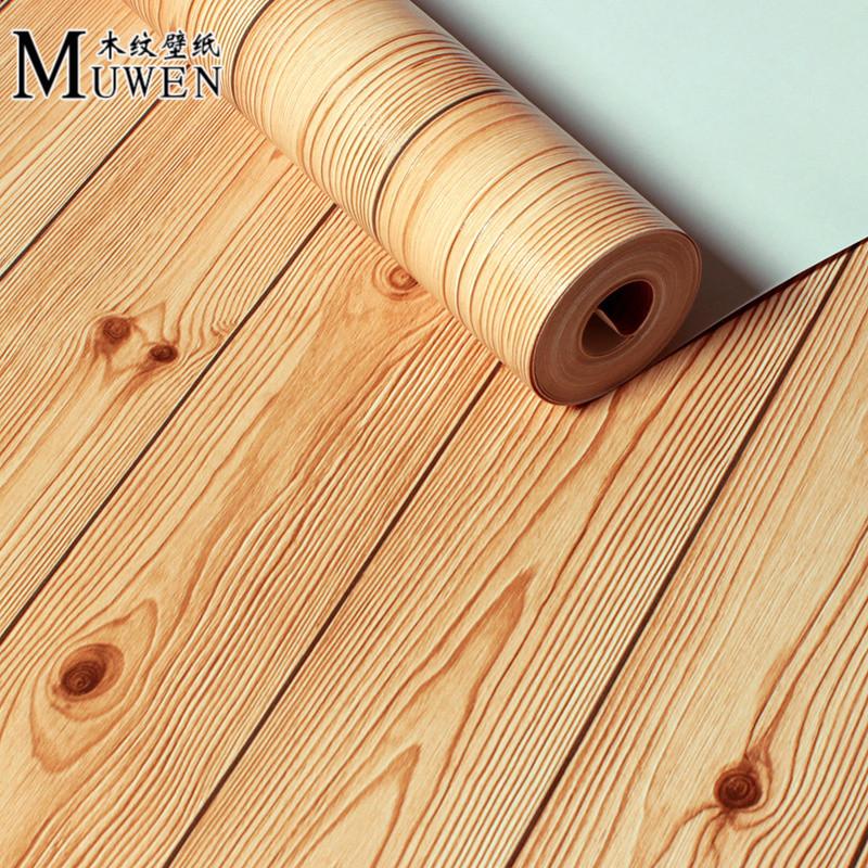 新中式仿木复古木纹墙纸原木色木板壁纸天花板服装店饭店餐厅专用