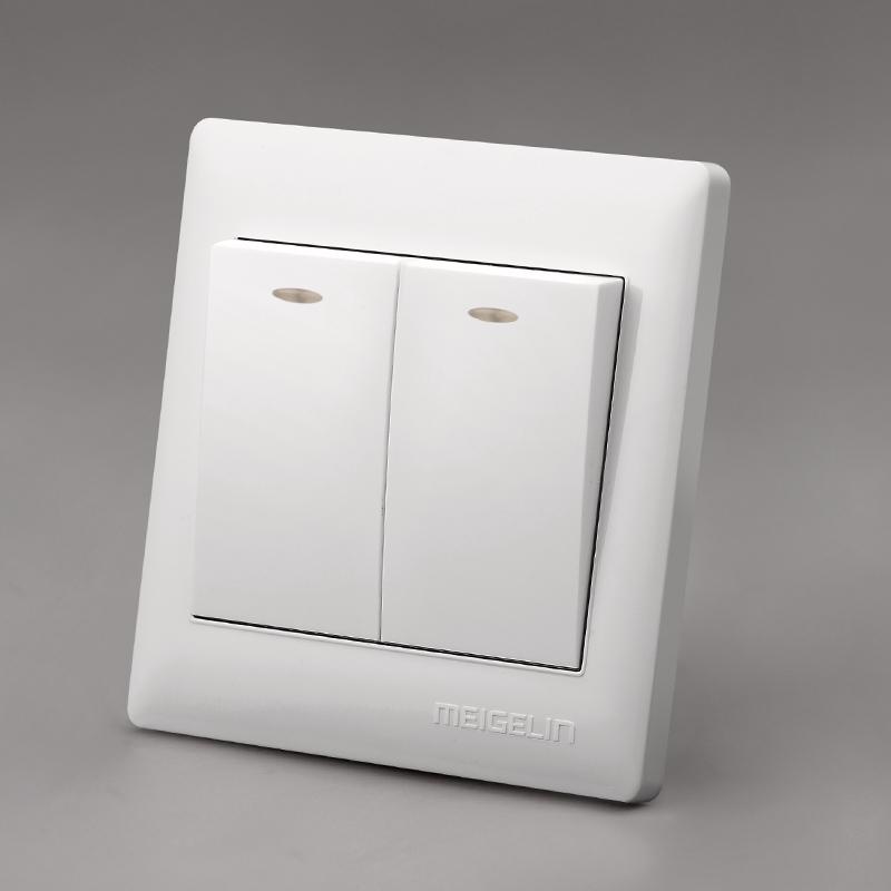 86型墙壁开关插座面板二位2开两开双开二开单控单联荧光象牙白