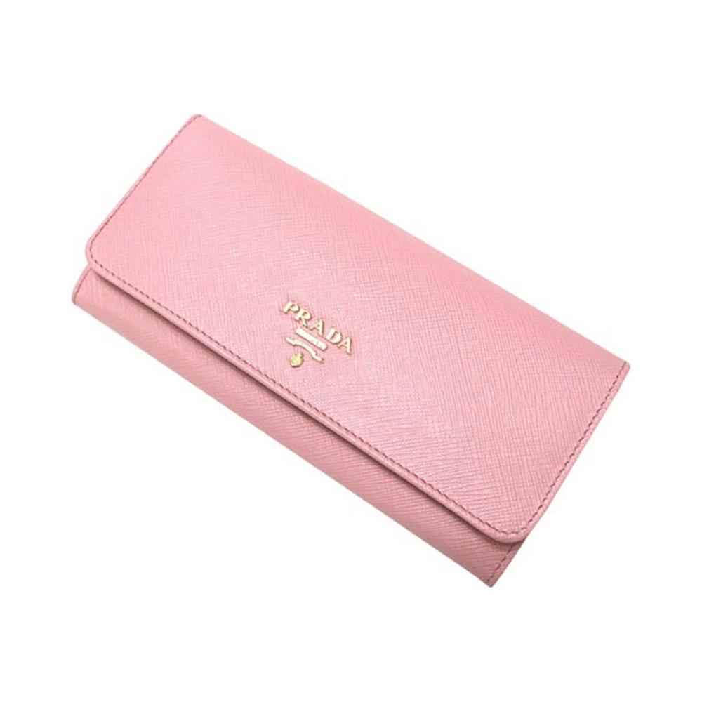 春夏女士牛皮按扣长款粉色钱夹钱包 18 普拉达 Prada