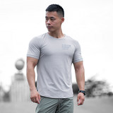 ONGOING wicking short sleeve shirt elastic sports and fitness exercise treadmill t-shirt breathable shirt printing thin section M