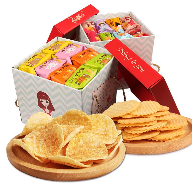 阿婆家薯片好吃的宿舍网红小零食大礼包女生整箱散装自选休闲食品