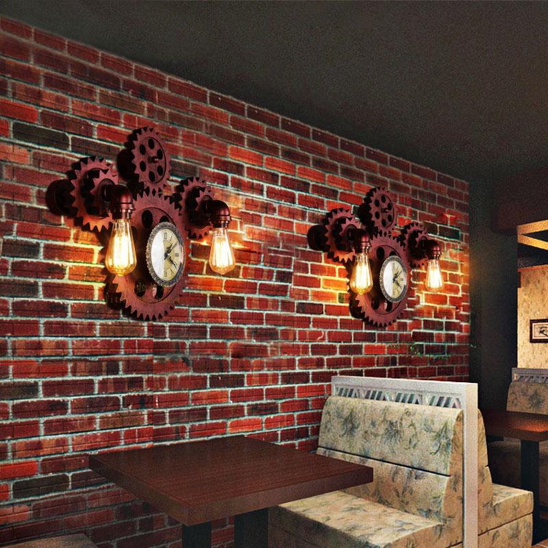 齿轮餐厅过道酒吧咖啡厅水管壁灯 loft 复古怀旧工业壁灯创意个姓