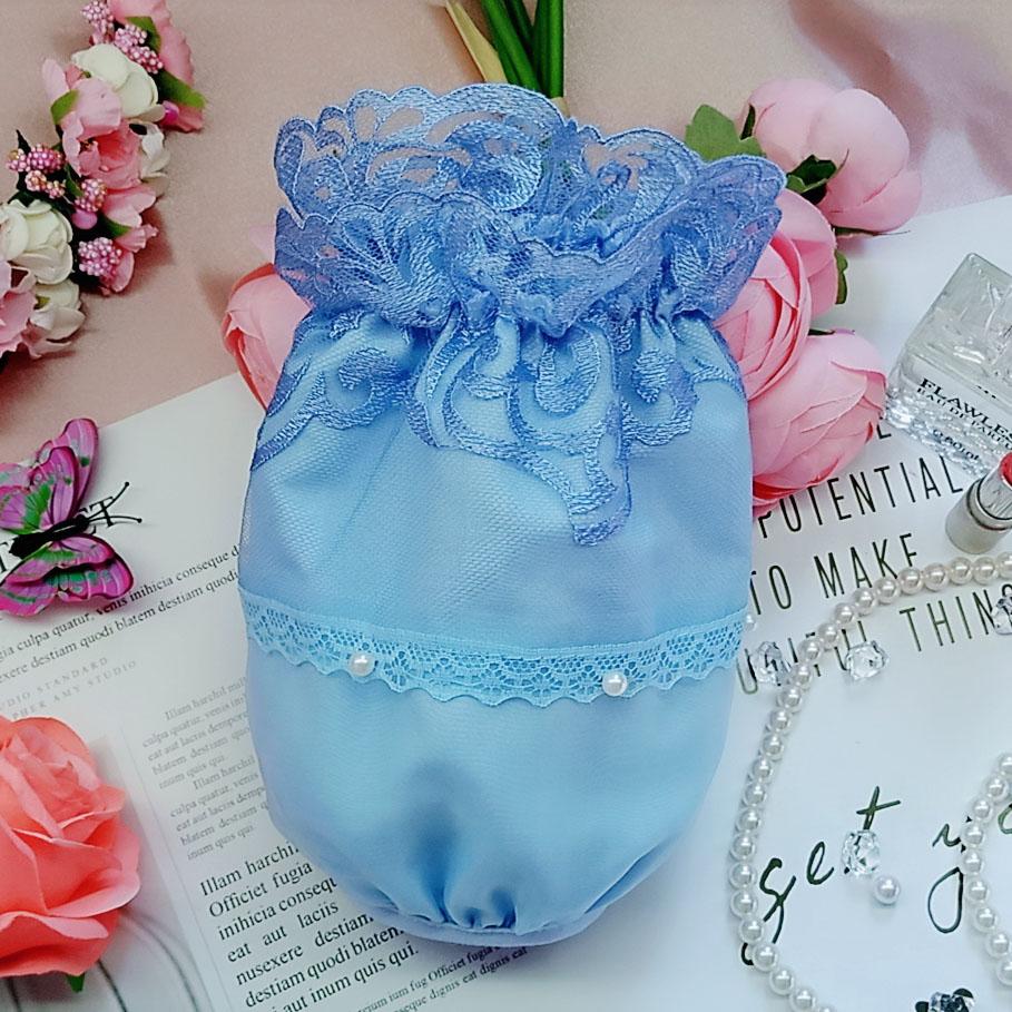 韩式精美珍珠钉珠双层蕾丝刺绣成人女办公袖套 短款黑色套袖