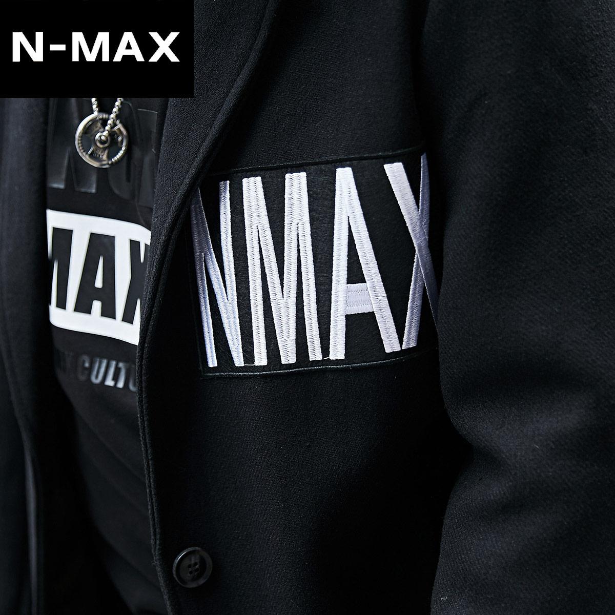 NMAX大码男装潮牌 胖子宽松时尚翻领外套加肥加大中长毛呢大衣