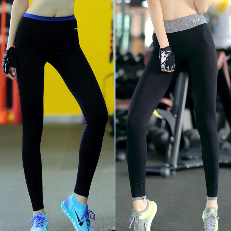 運動健身褲女彈力瑜伽褲透氣速幹健身褲高腰九分打底褲跑步壓縮褲