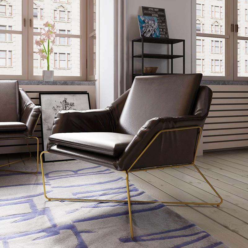 欧式复古铁艺沙发双人组合工业风酒吧卡座三人软皮创意沙发椅皮艺