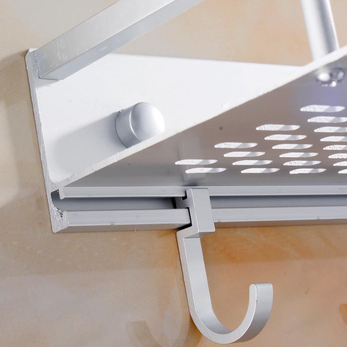 免打孔太空铝浴室置物架免钉 卫生间壁挂毛巾架厨房挂件1层架单层