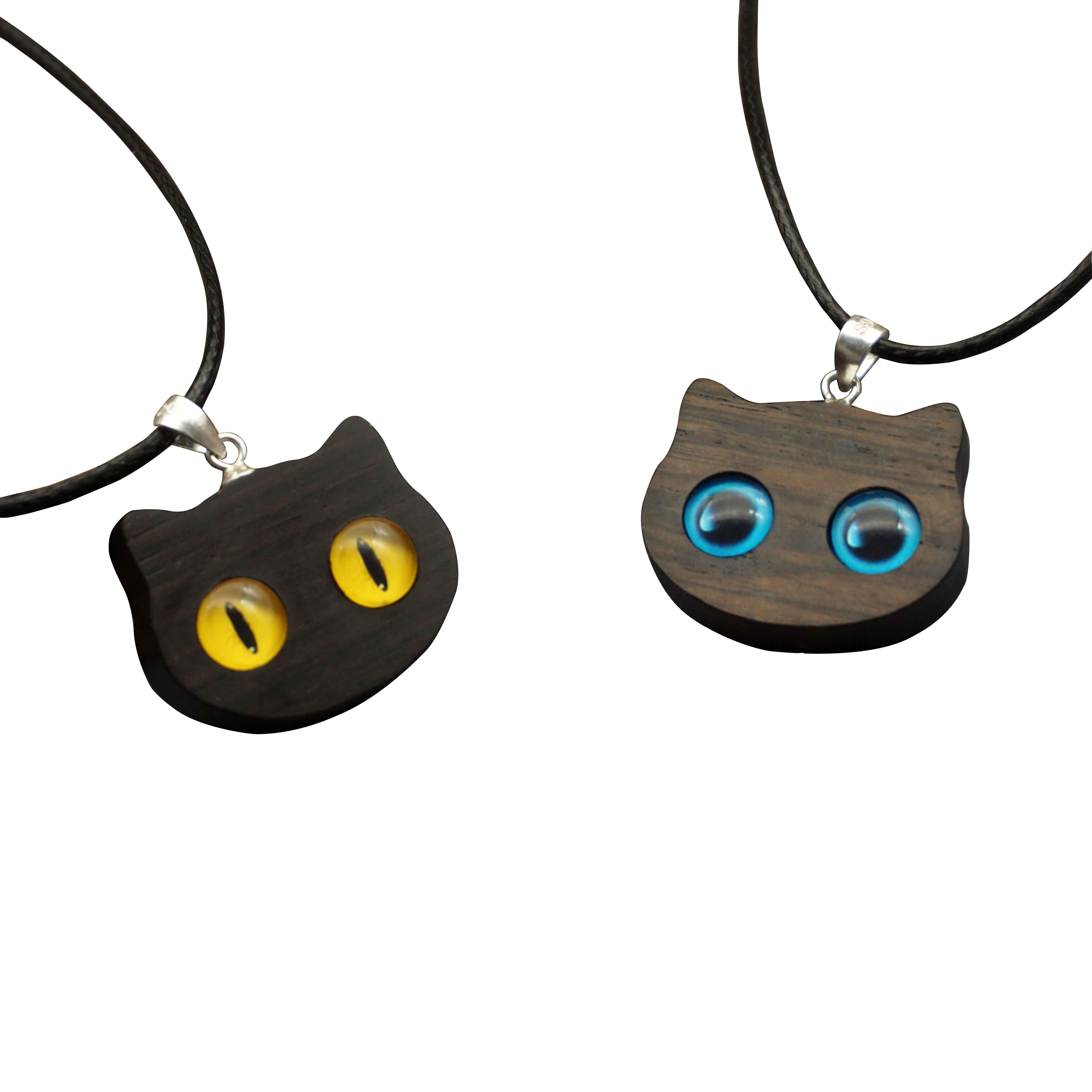 猫吊坠猫眼手工原创项链,送女朋友生日礼物