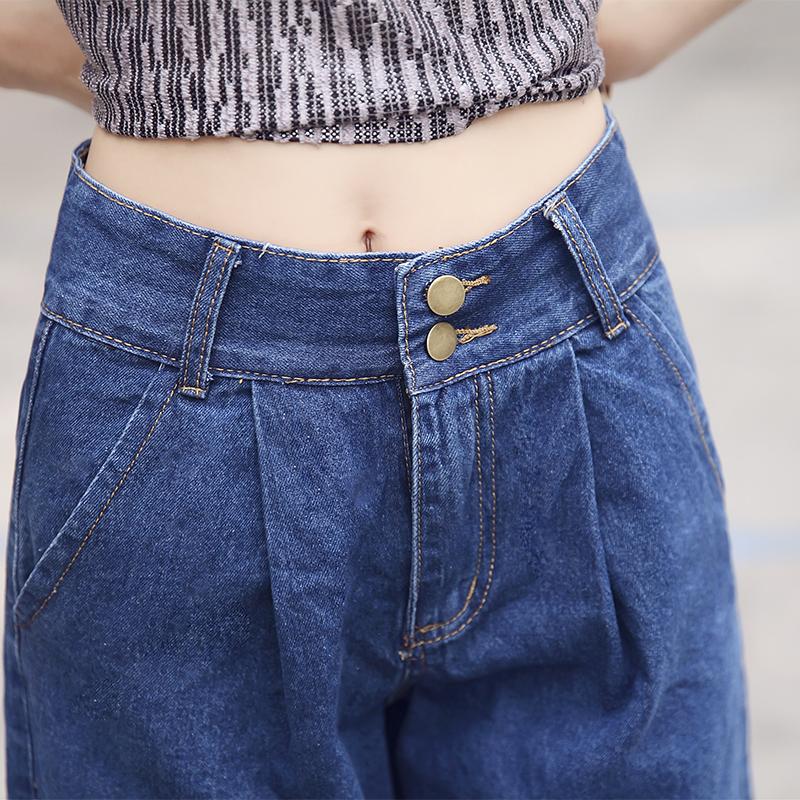 牛仔阔腿裤女九分裤高腰薄款显瘦哈伦七分宽松直筒韩版学生胖mm夏