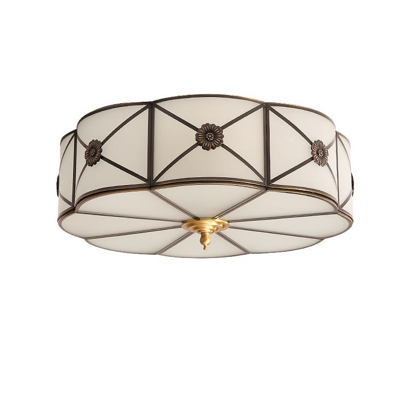 圆形美式全铜吸顶灯 LED 美式吸顶灯卧室客厅过道简约大气轻奢