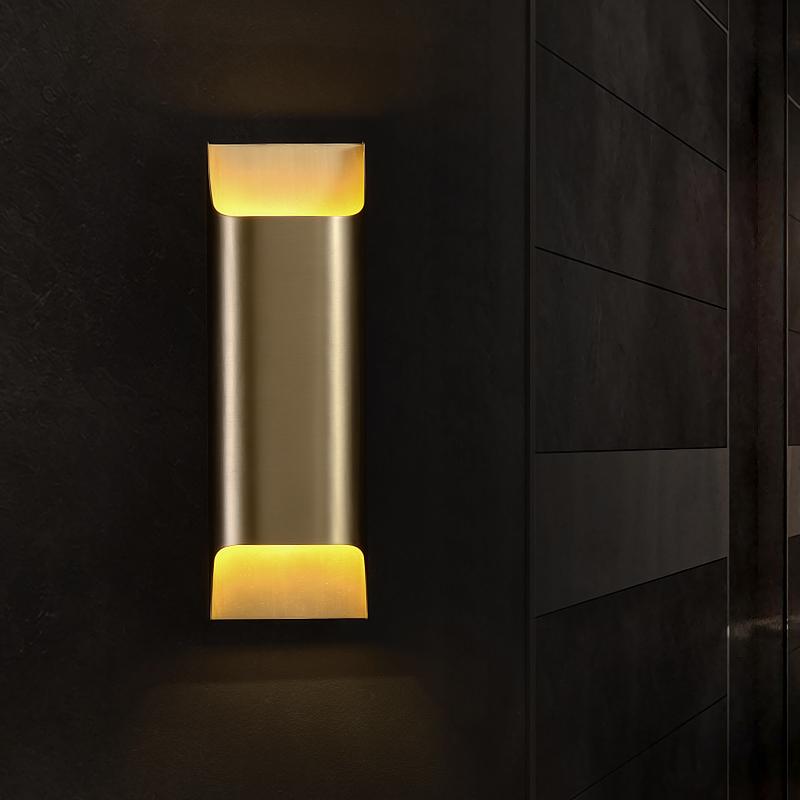 全铜壁灯轻奢后现代风格简约壁灯样板房酒店客厅卧室背景墙艺术灯