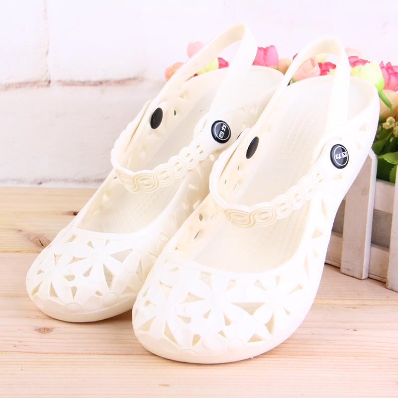 回力护士鞋凉鞋女夏季白色防滑透气洞洞鞋镂空沙滩鞋平底工作鞋女