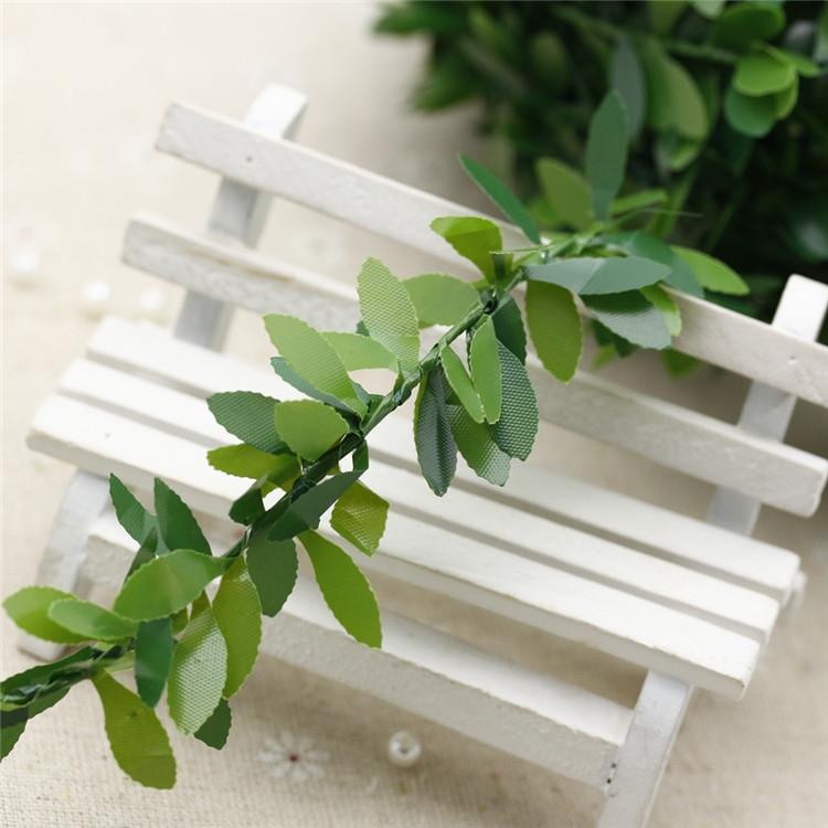 仿真PVC叶子铁丝藤条 花环绿树叶 手工花环配件 花环材料装饰叶