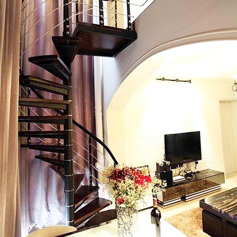 钢木 复式家用楼梯 整体室内楼梯旋转 阁楼楼梯 楼梯扶手扶手栏杆