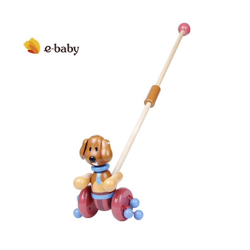 益贝宝宝木质学步手推玩具单杆儿童推推乐玩具60cm长杆款1岁包邮
