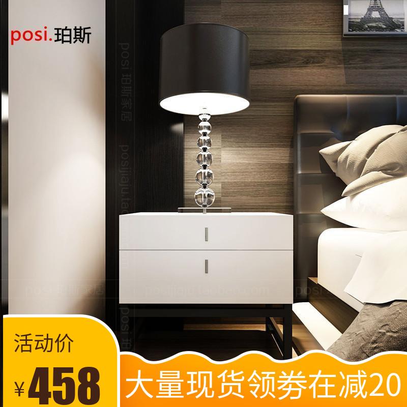 現代臥室烤漆床頭櫃儲物櫃 黑色鐵架腳床邊櫃時尚簡約二斗櫃定製