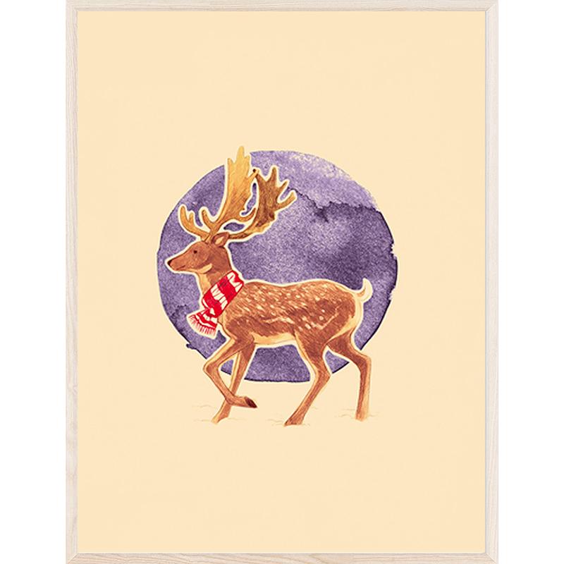 印物所出品 手印版画 「Winter Deer」 丝网版画 卧室客厅装饰画
