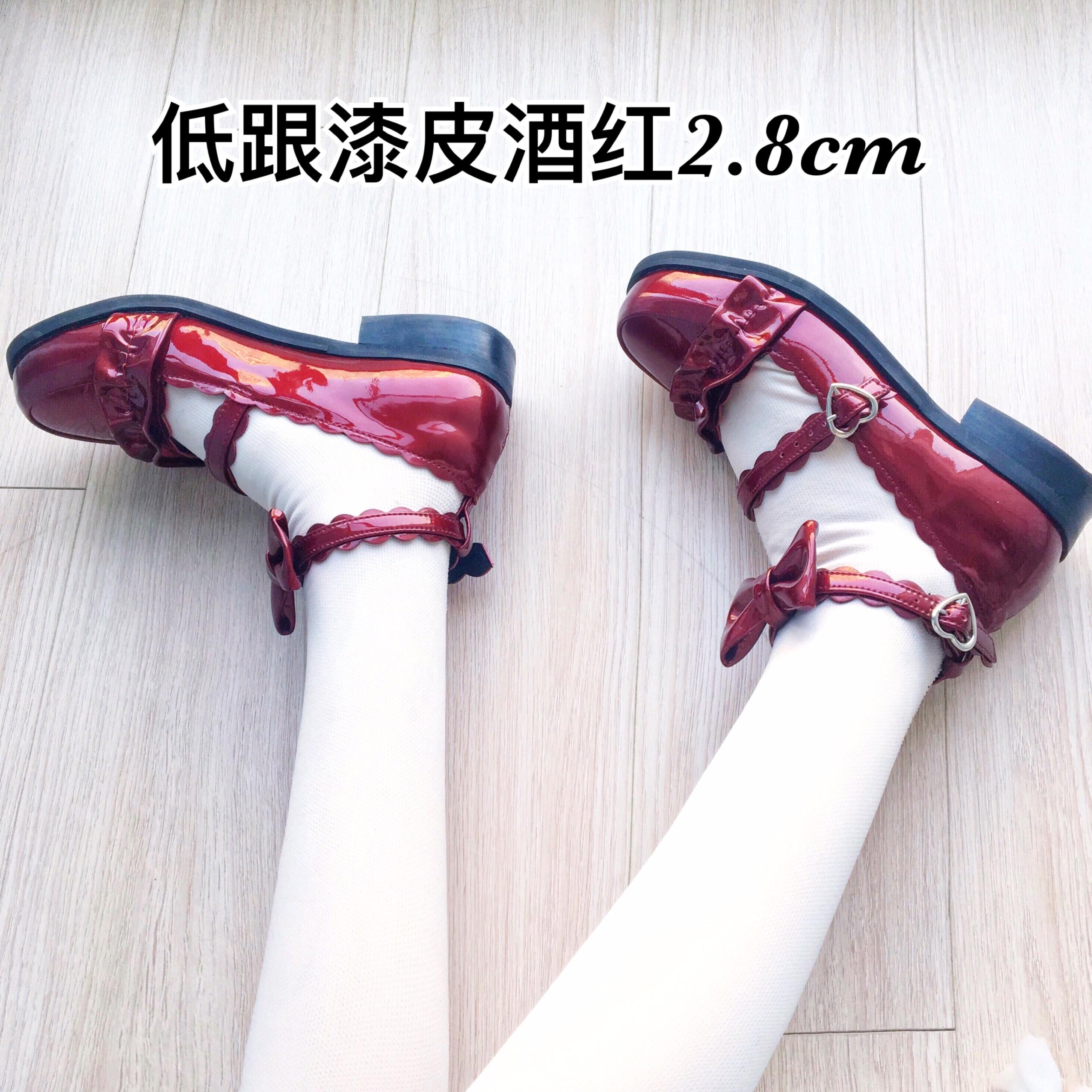 原创花边皮鞋 Lolita 低跟漆皮酒红漆皮黑梅露露绵羊泡芙 正品