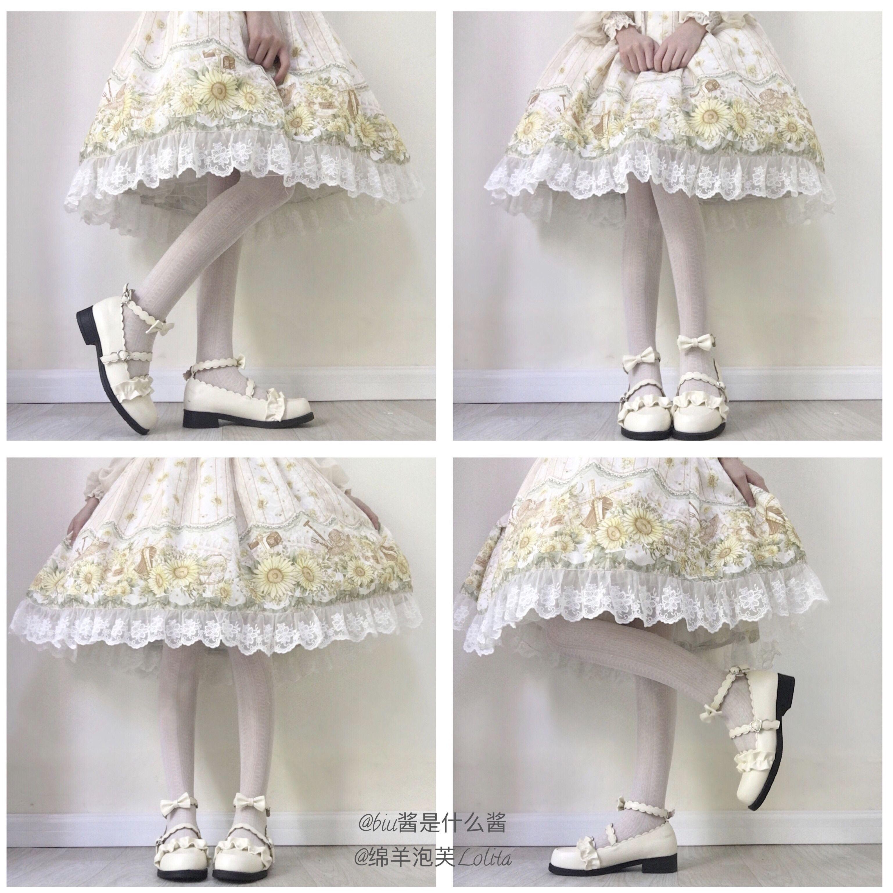 鞋日系花边圆头学生鞋子 Lolita 绵羊泡芙原创 低跟梅露露 现货