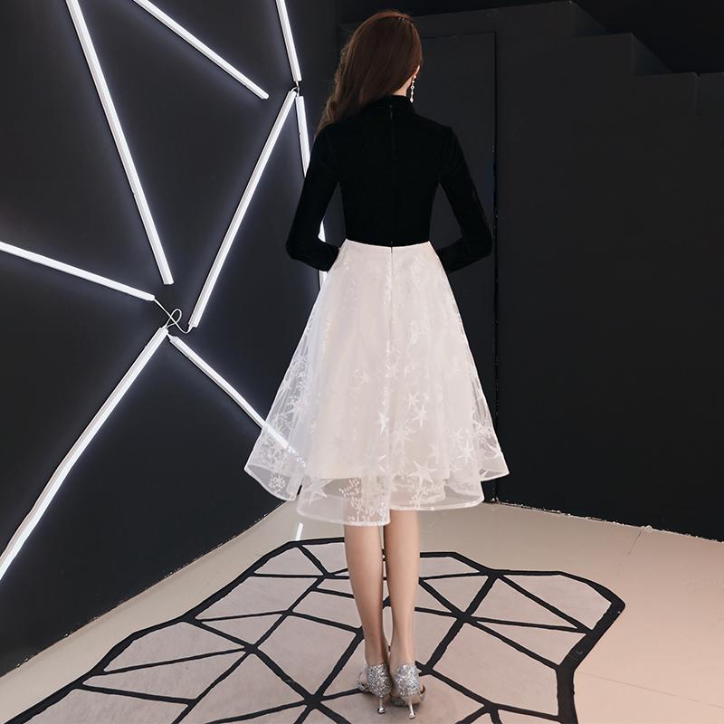 宴会小晚礼服裙女2019新款秋年会洋装生日派对主持中式连衣裙长袖