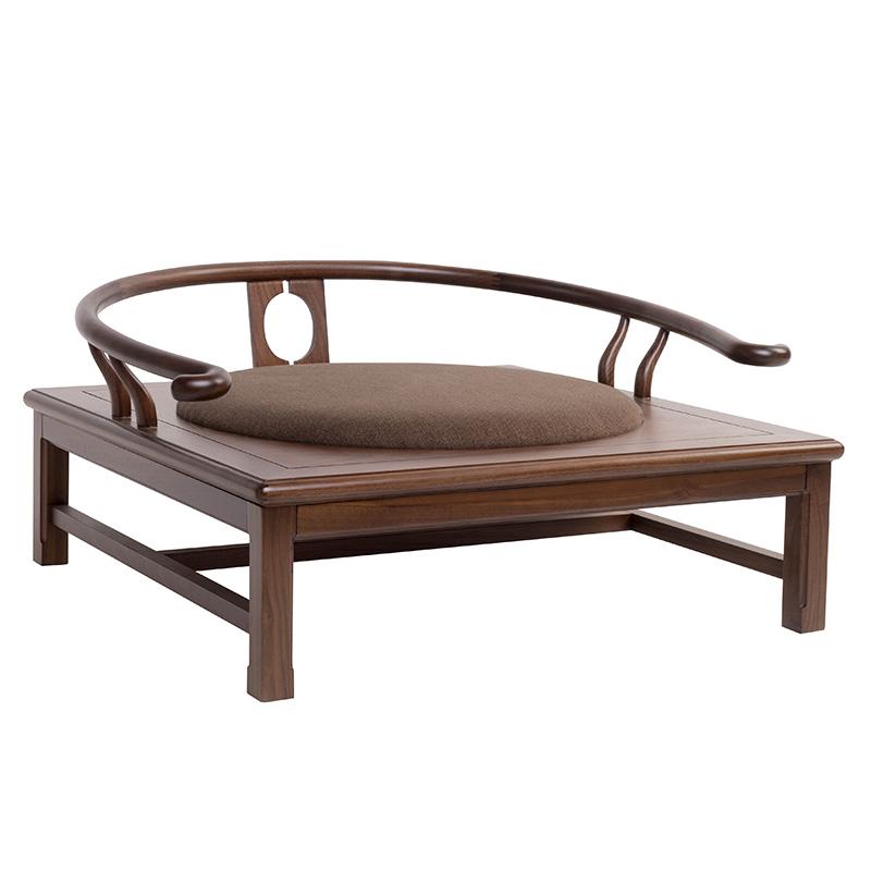 有清堂新中式禅椅黑胡桃实木圈椅单人盘腿打坐椅禅修仿古禅意家具