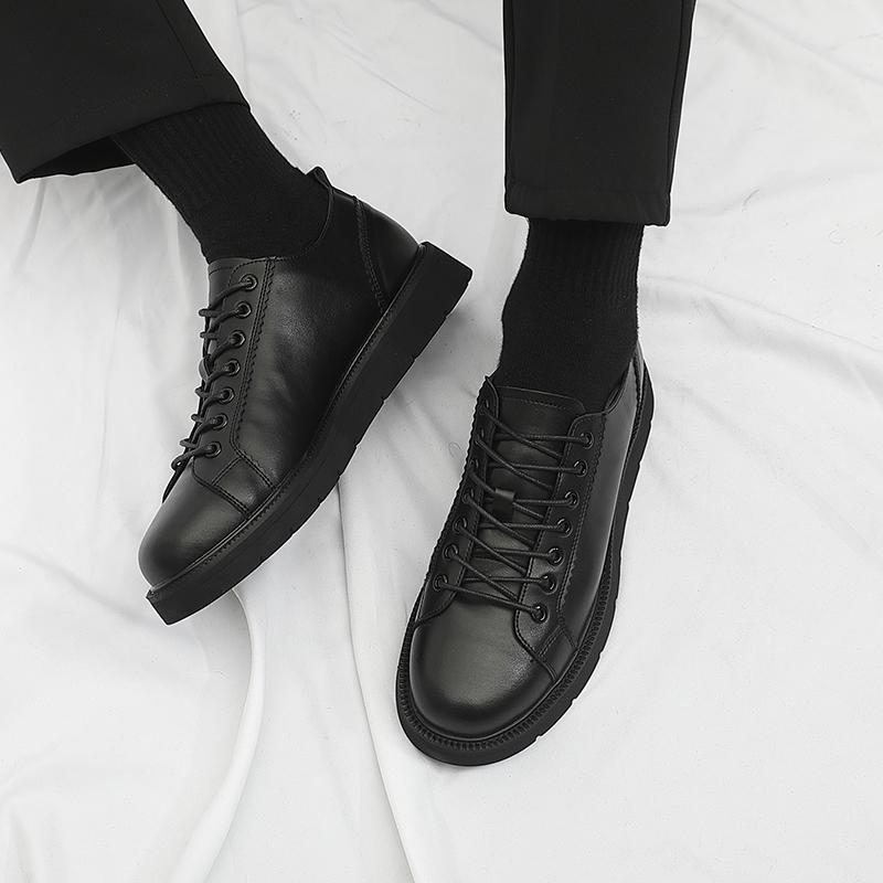 港风原宿小皮鞋男韩版潮流百搭休闲鞋子男潮鞋黑色真皮英伦休闲鞋