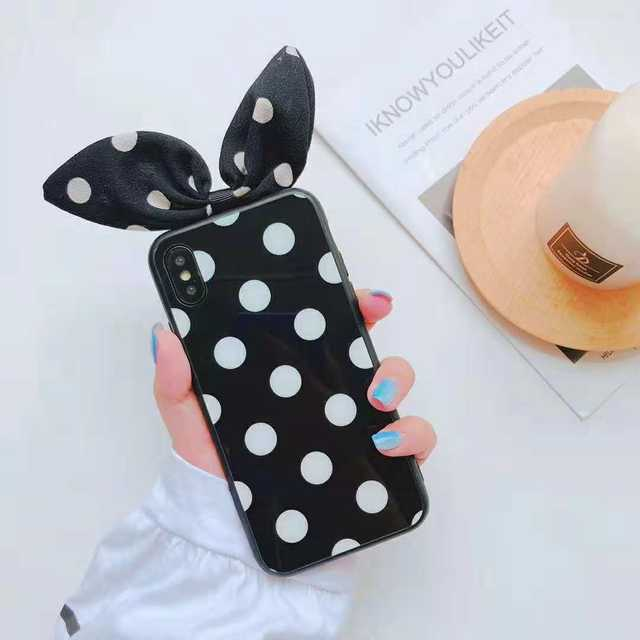 iPhoneXSMAX applies to wave point XR mobile phone shell bowknot Apple 7/8plus glass protective cover 6s
