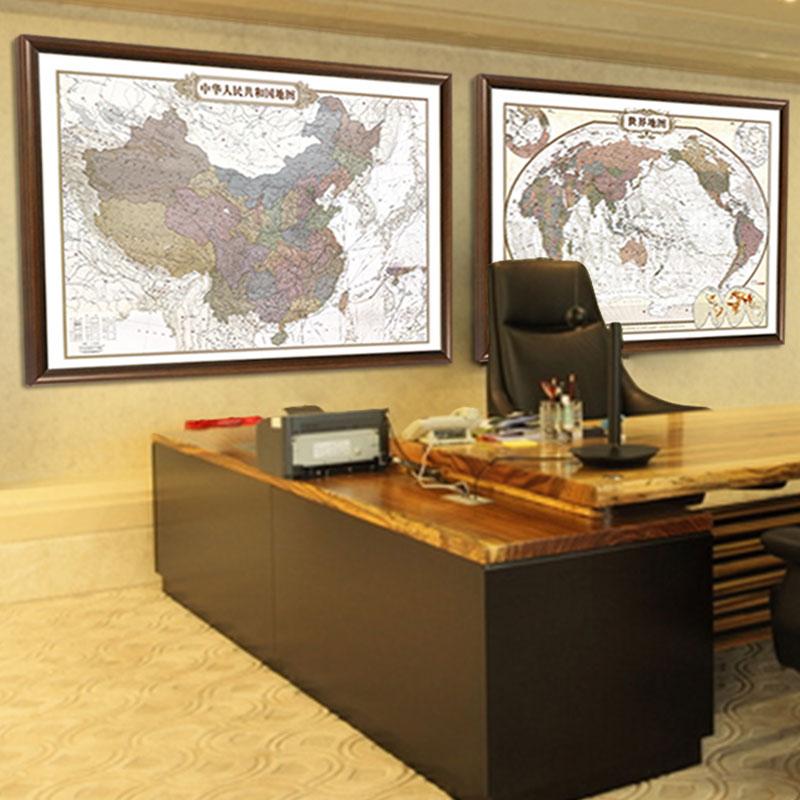世界地圖中國2019年新版高清掛圖掛畫復古辦公室裝飾畫中英文豎版