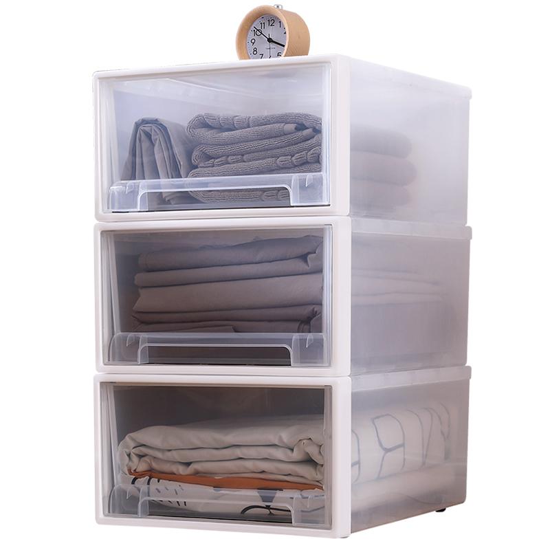 透明收纳箱抽屉式塑料家用衣物衣服整理箱衣柜内衣收纳盒储物柜子
