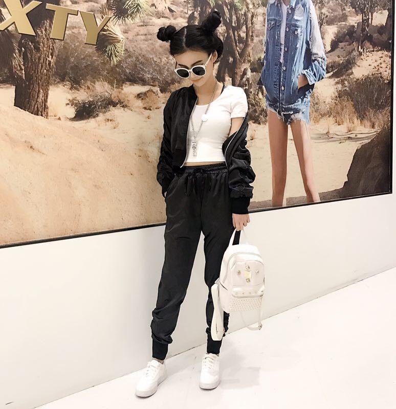 2018夏季新款时尚韩版甜美时尚棒球服松紧腰开衫运动休闲套装学生