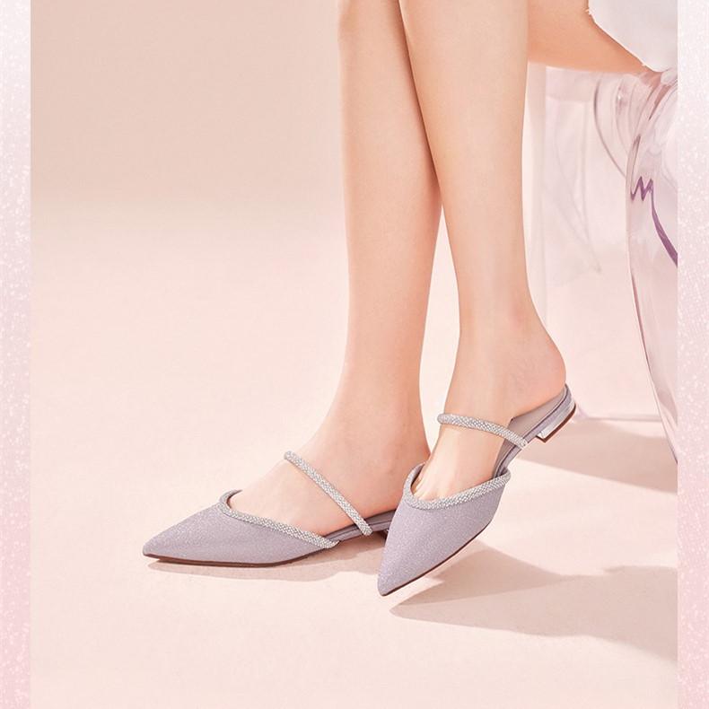 3KZC6BH1 年百丽星辰夏季新款女凉拖鞋外穿水钻尖头平底穆勒鞋 2021