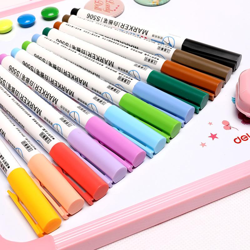 得力白板笔黑色水性可擦 除儿童无毒彩色黑板笔画板笔写字板书写笔易 擦 写专用记号笔教师用