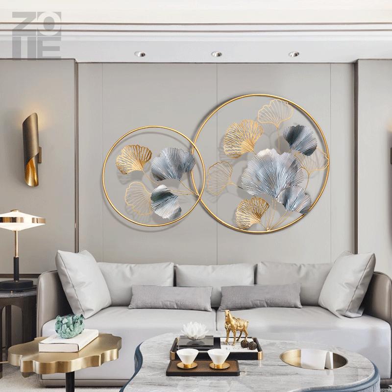 现代轻奢银杏叶客厅沙发背景墙装饰品卧室圆形创意铁艺玄关壁挂饰