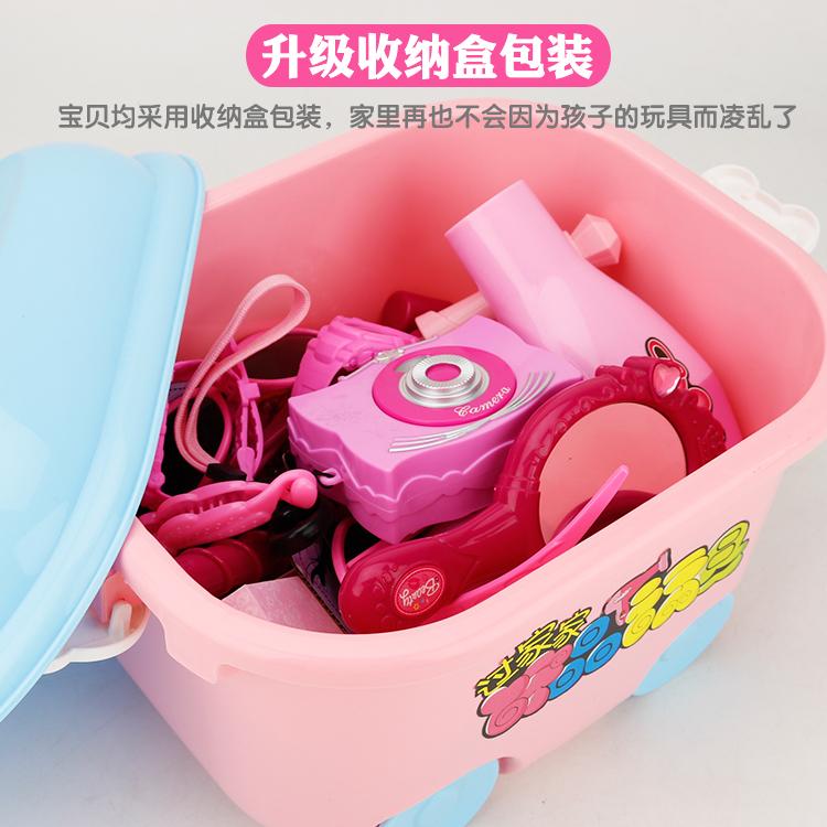 仿真儿童化妆品美发盒玩具套装小女孩女童公主过家家梳妆台3-6岁5