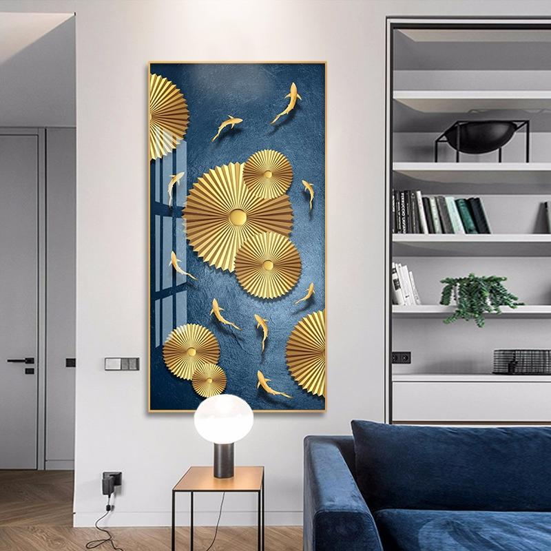 轻奢玄关装饰画竖版走廊过道挂画现代简约抽象画新中式客厅壁画墙