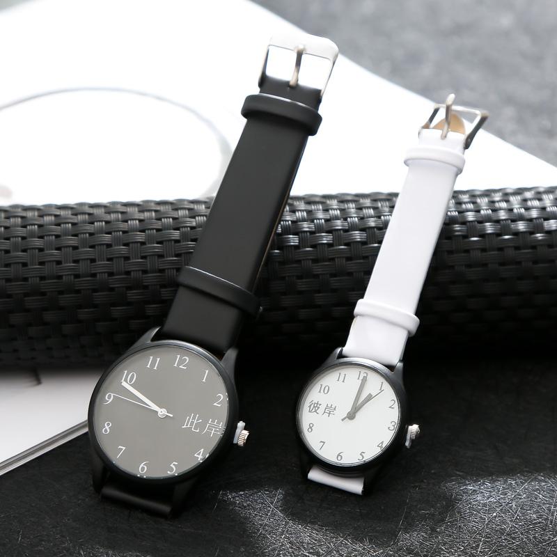 韩版个姓文字情侣表一对中高考试专用手表男表女表情人节石英表