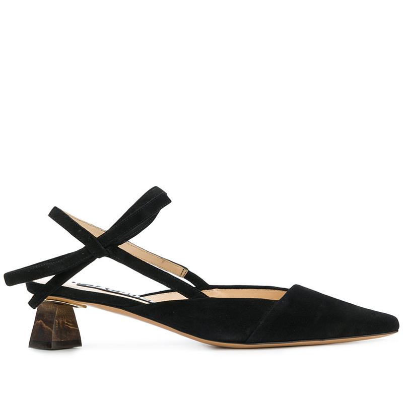 新款真皮异型积木中跟包头凉鞋女鸳鸯鞋 几何设计 苏茵茵 sheii