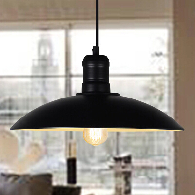 啡厅仓库创意单头铁艺锅盖吊灯