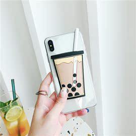 创意立体珍珠奶茶v6美图t9限量版手机壳t8/m6硅胶防摔m8s软套v7女
