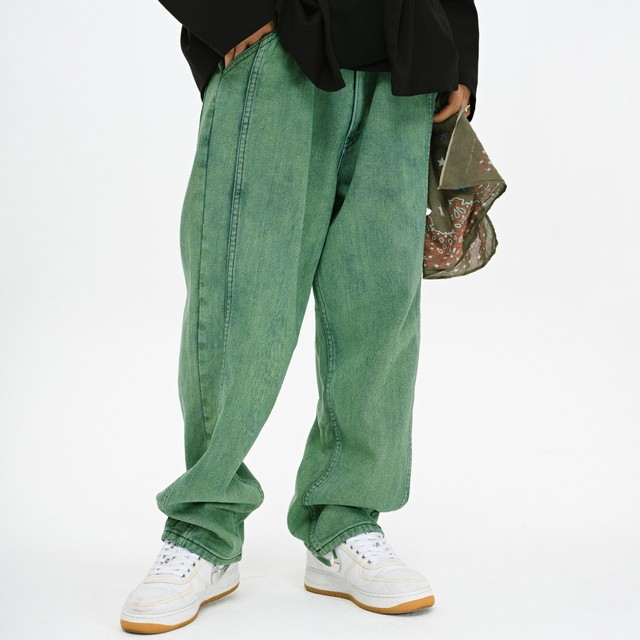 Evilklight national trend green wash fried hip hop loose casual heavyweight straight pants EK jeans men