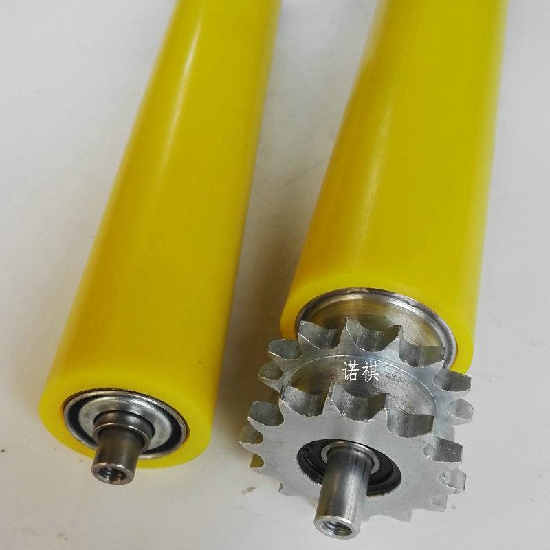 不锈钢链轮滚筒 塑钢链轮托辊  动力单排滚筒 双排镀锌链轮辊筒