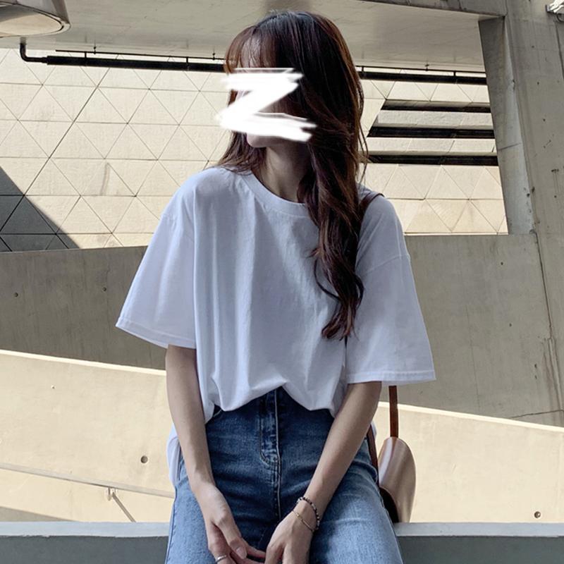 白色短袖t恤女装2021新款潮夏装半袖体恤韩版ins纯棉纯色宽松上衣