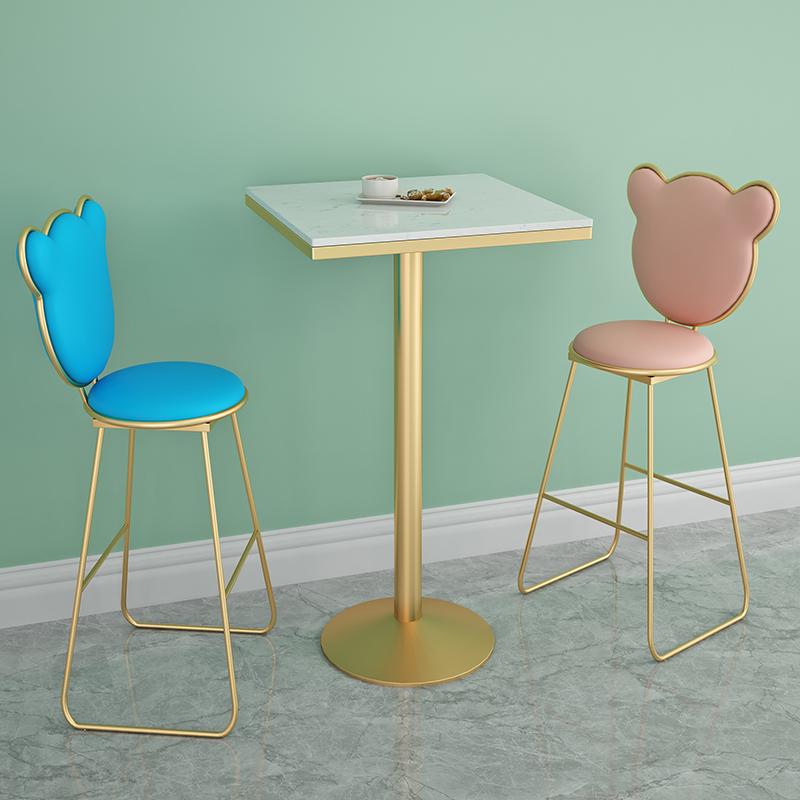簡約奶茶店桌椅咖啡廳高腳桌椅休閑酒吧方圓桌簡約桌椅三件套網紅