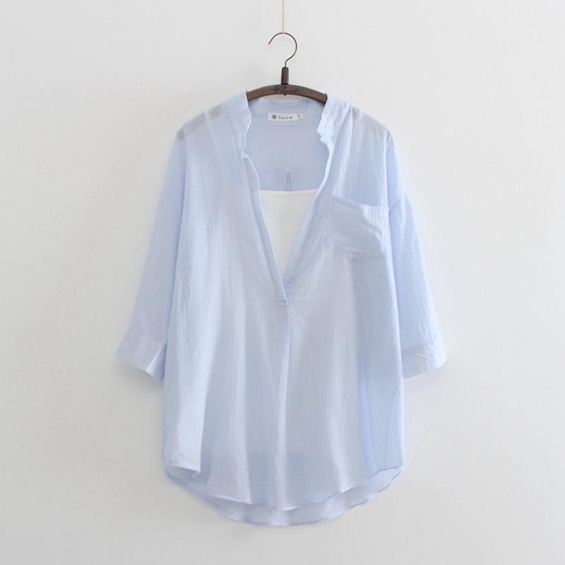 春夏新款七分袖V领条纹衬衫女棉中长款打底背心两件套衬衣韩版潮