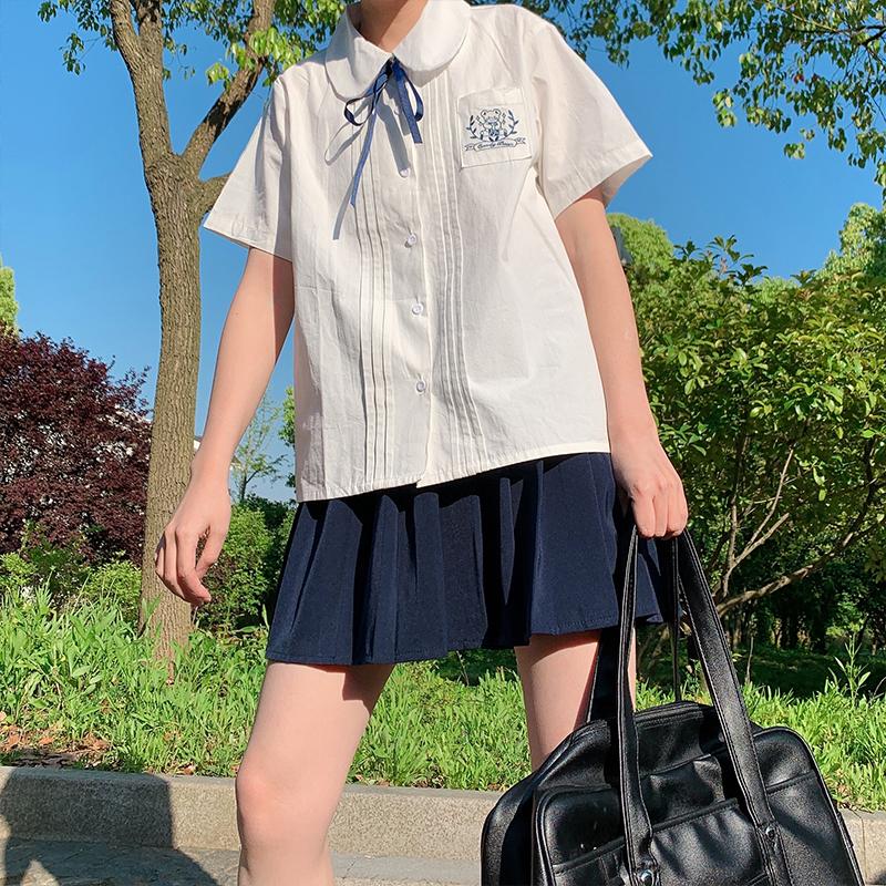 幼稚商店日系娃娃领刺绣jk学院风短袖系带衬衫女夏季软妹学生衬衣