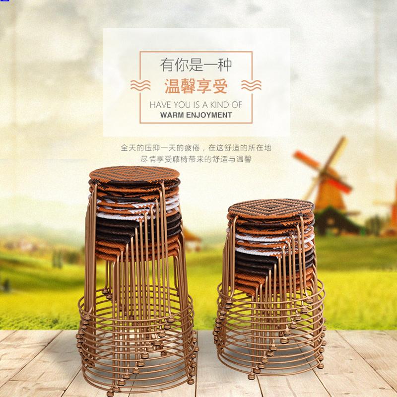 特價實心鋼編藤小圓椅 茶几椅餐椅高矮凳摺疊椅辦公椅簡約現代